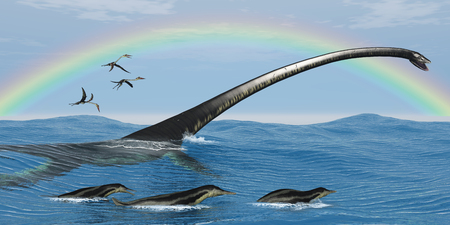 marinelife: Elasmosaurus Marine Reptile - Elasmosaurus tries to capture one of the Dolichorhynchps reptiles as Quetzalcoatlus birds look for fish.