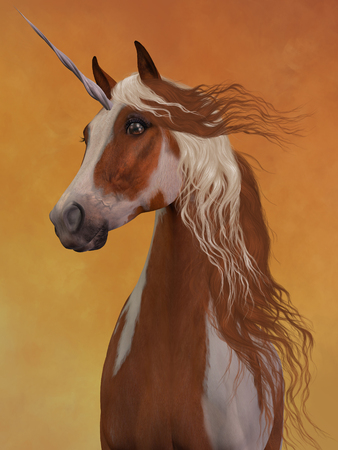 sorrel: Sorrel Pinto Unicorn - The beauty and majesty of a sorrel pinto unicorn stand out against a golden background.