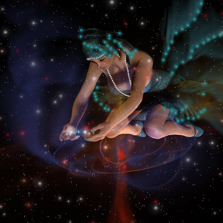Spirit of the Stars - A ghostly female spirit dressed in turquoise stars spreads stars and planets throughout the universe.