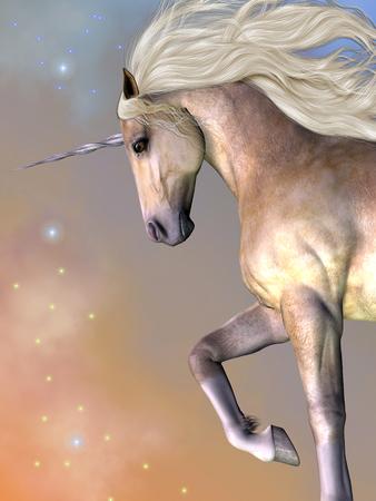 fantasy creature: Dapple Buttermilk Unicorn - Cosmic stars surround the beauty of a dapple buttermilk unicorn as he prances across the universe.