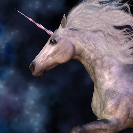 unicorn: Dapple Grey Unicorn - Cosmic stars surround the beauty of a dapple grey unicorn as he prances across the universe. Stock Photo