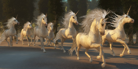 herd: Magical Unicorn Forest - A herd of magical white unicorns with wondrous manes and tails gallop through the forest. Stock Photo