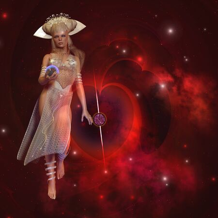Heart of the Cosmos - Goddess of the stars stands near a large star-shaped nebula with the Earth planet in her hand.