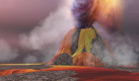 volcanic: Volcanic Lands - Molten magma flows from an erupting volcano and smoke billows up into the sky.