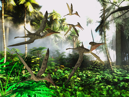 Pterodactylus Flying Reptiles - A flock of Pterodactylus dinosaur reptiles fly over the jungle searching for their next meal. Imagens