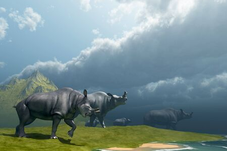 behemoth: Prehistoric Fog - A herd of Brontotherium come down to a lake for a drink in the Early Oligocene Period.