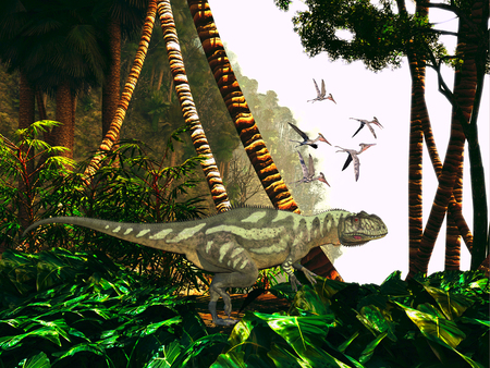 primeval: Yangchuanosaurus in Jungle - A Yangchuanosaurus hunts through heavy jungle foliage for prey as a flock of Pterodactylus reptiles keep close watch on him. Stock Photo