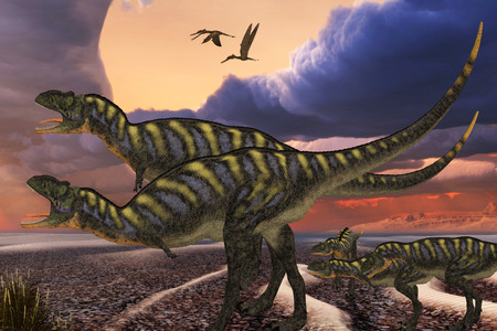 youngsters: Aucasaurus Dinosaurs - Parental Aucasaurus dinosaurs defend their youngsters from a passing predator in their territory as Zhenyuanopterus reptile birds fly nearby. Stock Photo