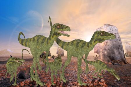 bipedal: Juravenator Dinosaurs - A family of Juravenator dinosaurs cross a desert area looking for a better habitat to hunt prey.