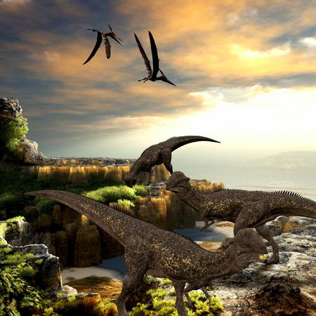 dinosauro: Stegoceras Dinosauri - dinosauri Stegoceras mangiano la vegetazione lungo una costa rocciosa come rettili Pteranodon volano sopra la testa.