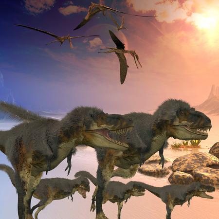 harass: Daspletosaurus Dinosaurs - Zhenyuanopterus flying reptiles harass a family of Daspletosaurus dinosaurs crossing a desert. Stock Photo