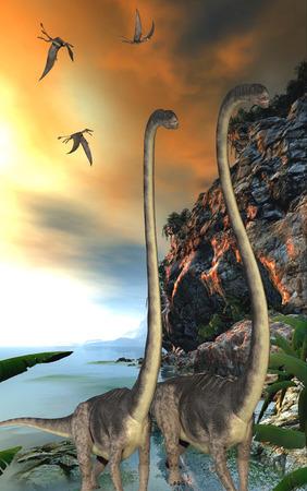 dinosaur teeth: Omeisaurus Dinosaurs - Dorygnathus dinosaur reptiles fly over two Omeisaurus dinosaurs walking along a steep cliff. Stock Photo