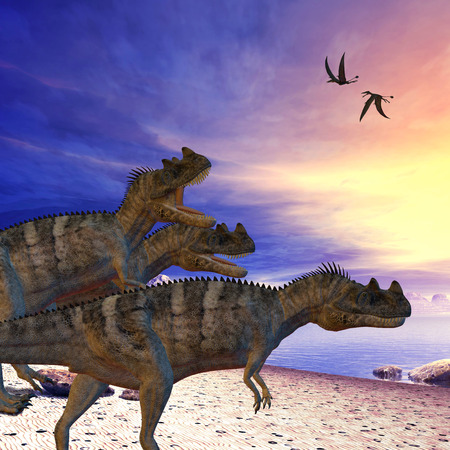 prehistoric era: Ceratosaurus on the Prowl - Ceratosaurus dinosaurs search the beach for prey as two Dorygnathus flying reptile pass overhead. Stock Photo