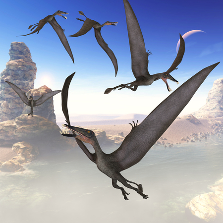 mesozoic: Dorygnathus Flying Reptiles - The Dorygnathus reptile was a predatory flying dinosaur that lived in the Jurassic Period of Europe.