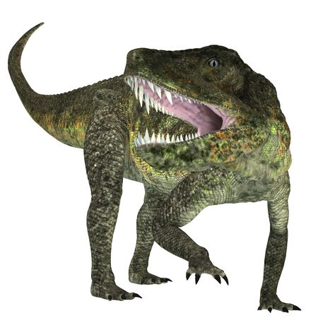 triassic: Postosuchus Triassic Reptile - Postosuchus was a cousin of crocodiles and lived as a carnivore in North America during the Triassic Era. Stock Photo