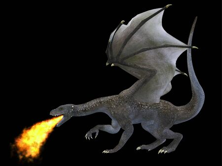 outspread: Fire Breathing Dragon - A fierce dragon with huge teeth and claws breathes fire as a weapon as he rises with outspread wings.