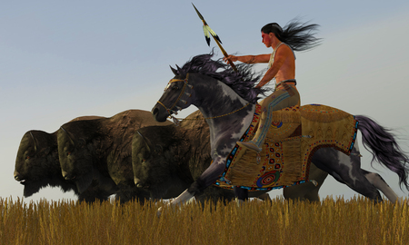 american history: Indian and Paint Horse - A herd of bison scatter in a desperate attempt to get away from an American Indian brave on his paint horse.