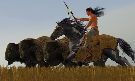 indio americano: Indio y Paint Horse - Una manada de bisontes de dispersi�n en un intento desesperado por escapar de un americano valiente indio en su caballo de la pintura.