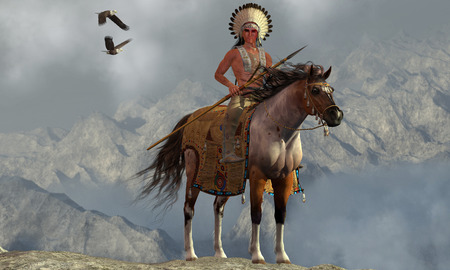 Indian Soaring Eagle - Two Bald Eagles fly near an American Indian with his paint horse on a tall cliff in a mountainous area. Stock Photo