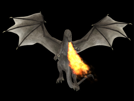 outspread: Dragon Fire - A fierce dragon with huge teeth and claws breathes fire as a weapon as he rises with outspread wings.