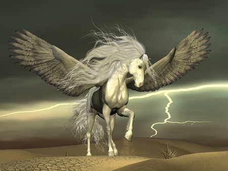 thundering: Pegasus and Dark Skies - A white Pegasus horse nervously paws the ground with outstretched wings as a thunderstorm passes by. Stock Photo