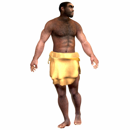homo: Homo Erectus Male - Homo Erectus is an extinct species of human that lived during the Pleistocene Period in Eurasia and Africa. Stock Photo