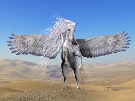 pegaso: Pegasus blanco en el desierto - Pegasus es una divina criatura mítica griega que tiene la forma de un caballo blanco y alado.