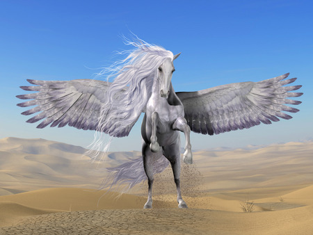 creature: White Pegasus in Desert - Pegasus is a divine Greek mythical creature that has the form of a white winged horse.