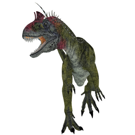 antarctica: Cryolophosaurus Dinosaur Aggression - Cryolophosaurus was a theropod dinosaur that lived in Antarctica during the Jurassic Period. Stock Photo