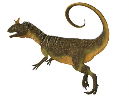 jurassic: Cryolophosaurus Tail - Cryolophosaurus was a large theropod carnivorous dinosaur that lived in Antarctica during the Jurassic Period. Stock Photo