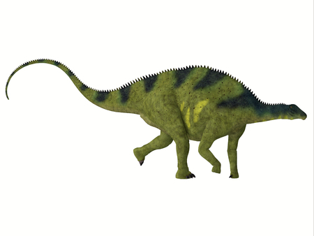 herbivorous: Brachytrachelopan Side Profile - Brachytrachelopan was a herbivorous sauropod dinosaur that lived in Argentina during the Jurassic Period. Stock Photo