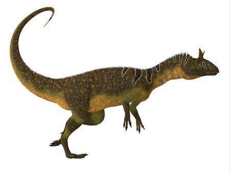antarctica: Cryolophosaurus Dinosaur Side View - Cryolophosaurus was a large theropod carnivorous dinosaur that lived in Antarctica during the Jurassic Period. Stock Photo