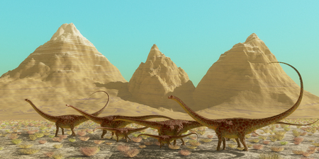 diplodocus: Diplodocus Dinosaur Herd - A herd of Diplodocus dinosaurs cross a desert on their annual migration to a warmer region.
