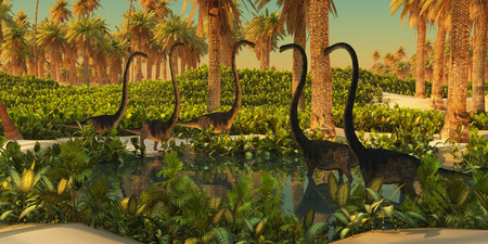 jurassic: Omeisaurus Dinosaur Watering Hole - A herd of Omeisaurus dinosaurs use a small Jurassic pond for drinking and bathing.