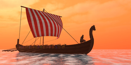 celts: A Viking longboat sails through ocean calm waters to their destinations for trade goods.