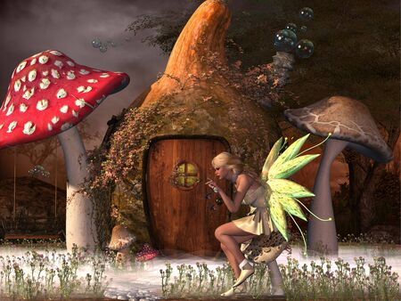 magical forest: Fairy Belle plays with glowflies outside her gourd home in the magical forest.