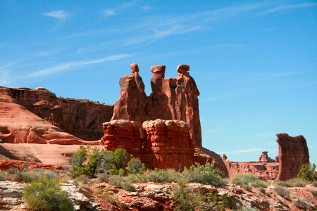 red rock: Three Gossips Hoodoo red rock formations in the Arches National Park Near Moab Utah, USA.