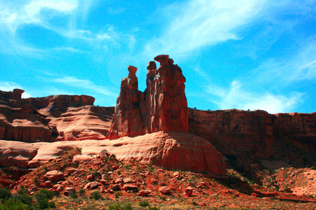 sculpted: At Park Avenue fantastic rock formations and arches sculpted over millions of years dot the landscape.