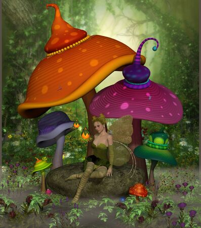 magical forest: Fairy Daina relaxes on a rock surrounded by colorful fantasy mushrooms and flowers in the magical forest.