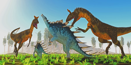 offspring: A Kentrosaurus female rears up to defend her offspring from two carnivorous Cryolophosaurus dinosaurs. Stock Photo