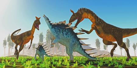 hijos: Una hembra Kentrosaurus se alza para defender a su descendencia a partir de dos dinosaurios carnívoros Cryolophosaurus.