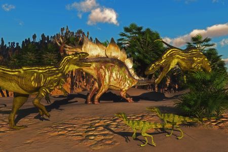 behemoth: Small Juravenator reptiles watch as a Stegosaurus tries to defend itself from two Torvosaurus dinosaurs.