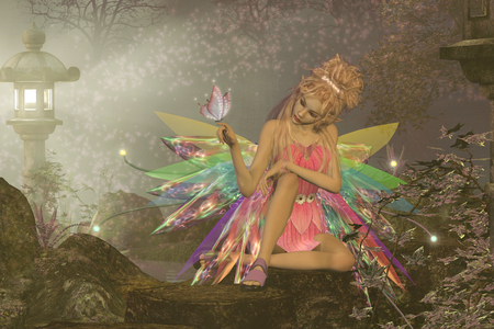 A small fairy with wings waits as a pink butterfly lands on her finger in a magical woodland forest.