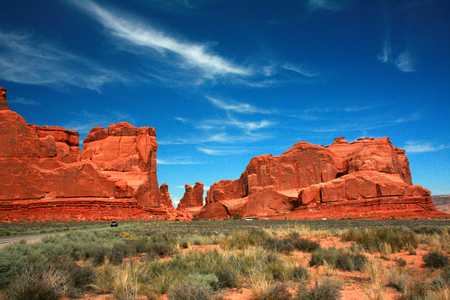 Park Avenue red rock formations sculpted from Entrada Strata in the Arches National Park.