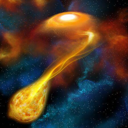 gravity: El acto de una estrella m�s densa usando su gravedad para engullir otra estrella cercana se llama el canibalismo estelar. Foto de archivo