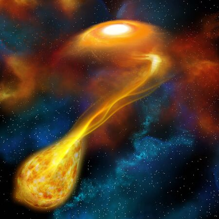 accretion: The act of one denser star using its gravity to engulf another near star is called stellar cannibalism.