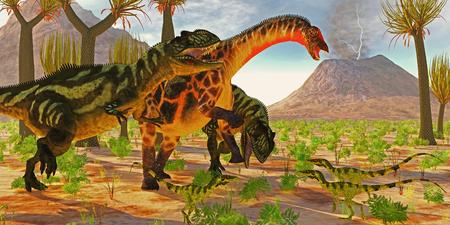 reptiles: Yangchuanosaurus dinosaurs try to take down a Dicraeosaurus sauropod as three Juravenator reptiles watch. Stock Photo