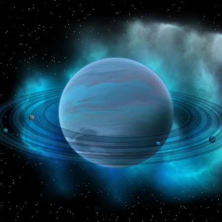 planetary: Neptune is the eight planet in our solar system and has planetary rings and a great dark spot indicating a storm on its surface.