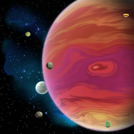Jupiter is the largest gas giant planet in our solar system with 67 moons and has a large red spot vortex below the equator. Stock fotó