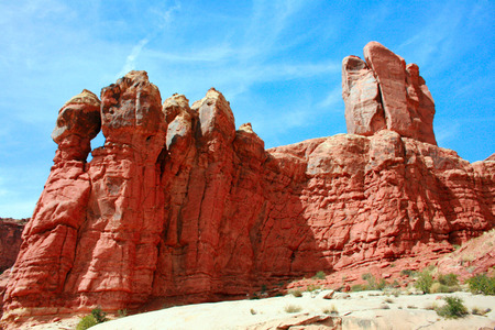 eden: Monoliths of red rock called the Garden of Eden in Arches National Park near Moab Utah, USA Stock Photo